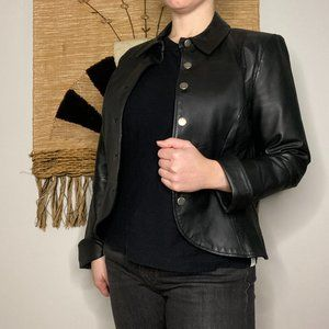 Vintage Fitted Cropped Leather Jacket